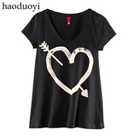Women T-Shirts 2013 spring and summer of love arrow print black t-shirt