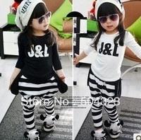 Free Shipping 4pcs/lot Kids boys girls KOREA design print T shirts clothes fashion  T shirt spring long sleeve clothing