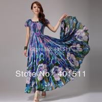 SD608-2 2014 Summer Fashion Long printed dress Bohemian Chiffon Maxi Dress Custom made