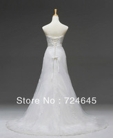 Wholesale--2013 Hot Sale Slim Fit A-line Wedding Bridal Dresses With Belts White Bridal Apparel Dress