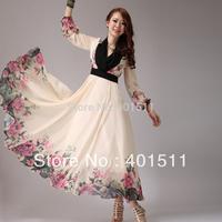 SD602-1 2014 Summer Fashion Long sleeve  printed dress Bohemian Chiffon Maxi Dress