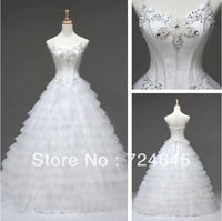 Wholesale- Real Picture Spaghetti Beading Ball Gown Dress Wedding Bridal Gown Dress Evening Prom Dress