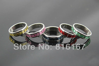 Free shipping mixed Lots Fashion Jewelry Wholesale 100pcs stainless steel Colorful men's  rings s1235