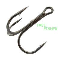 100 pcs fishing triple hooks 35656 2/0# 3.4cm high carbon steel round bent treble hooks