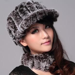 Winter horseshoers girl genuine leather cap rex rabbit hair hat winter hat visor winter hat(China (Mainland))