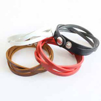 promotion fashion lovely women girls cool multicolors leather jewelry handmade a fried dough twist charm cuff button bracelets