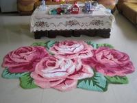 Free shipping big  rose handmade carpet/art rug/floor mat in bedroom/living room 200*120cm