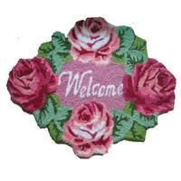 Free shipping good quality handmade rose welcome doormat/art doormat/ art carpet for door80*60cm