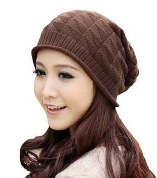 Women Winter Hats Girl Triangle Pattern Slouchy Knit Beret Beanie Crochet Rib Hat Cap Warm free shipping