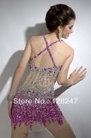 Modern 2013 Bodice See Through Purple Crystal Criss Cross Straps Mini Cocktail Style Dresses CDM-0047