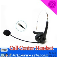 Hot Sales!!!!  2013-2014 Free Shipping 100R leatherette pad high quality monaural call center RJ11 headset with microphone