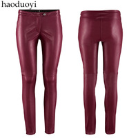 Hot Sale! Haoduoyi Wine Red Pu Tight Low-Waist Faux Leather Trousers Hm6 Skinny Pants Pencil Pants  Free Shipping