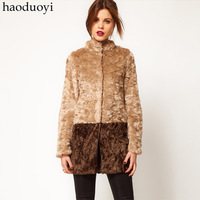HOT SALE!! Haoduoyi brown khaki long-sleeve medium-long patchwork faux fur coat fur overcoat color block  Free shipping
