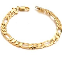 Free Shipping JEWELLERY wedding man 18k gold plated chain bracelets for man wholesale fashion gold bracele