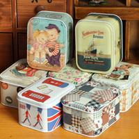 Free Shipping! 7pcs/lot Fashion Design Gift Tin Box Multi-use Storage Box Retro Style Jewelry Case Candy box