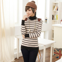 Free Shipping,2013 new arrivalBasic turtleneck shirt,women spring  stripe plus size clothing, knitted long-sleeve T-shirt
