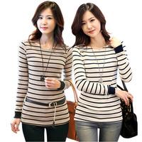 Free Shipping,2013 women's spring plus size clothing, spring stripe long-sleeve T-shirt ,long design basic shirt,women top