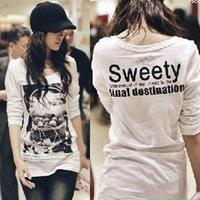 Free Shipping,Spring plus size clothing , spring loose long design basic shirt t-shirt, female long-sleeve