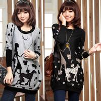 Free Shipping,2013 Fashion  clothing , spring loose long design long-sleeve T-shirt, Women basic shirt