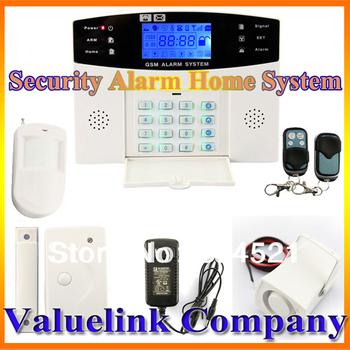 LCD Display Wireless Wired Home Burglar Alarm GSM SMS Intruder System For Garage Storage House Built-in Clock