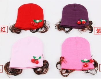 Free shipping 5pcs/lot 100%Cotton baby hat Little Cherry wig caps for children infant cap Children 's hat Sleeve head caps CA59