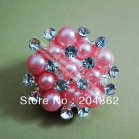Free Shipping 20pcs/lot 25mm fashion Pink pearl rhinestone button in sliver setting