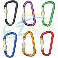 Free Shipping 7#(5.7*67mm)assorted Climbing Hook+security lock Aluminum Carabiner Camping Accessory Outdoorsport snap 150pcs/lot