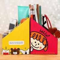 Fashion korea stationery wholesale cartoon diy paper desktop storage box pencil holder cosmetics case holder clean-it case 0783