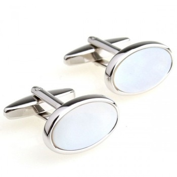 steampunk cufflinks Romance White Shell Oval Cufflinks
