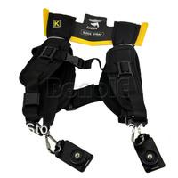 Black Professional Shooting Camera Double Shoulder Belt Strap For 2 Digital SLR Camera 14824