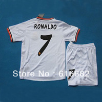 #7 Ronaldo youth uniforms 13-14 Real Madrid kids home white soccer football jersey+shorts,embroidery children soccer Uniforms