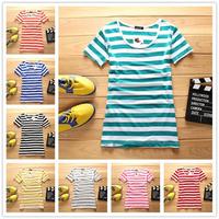 2014 high quality women T-shirts striped shirt modal ladies' basic T-shirt women shirt