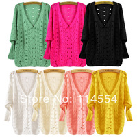 Retail And Wholesale New Fashion Women's V-neck Hollow Out Batwing Sleeve Knitwear Sweater Cardigan Coat 16283