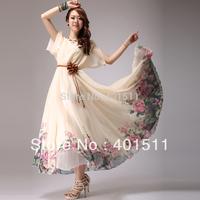 SD609-1 2014 Summer Fashion Long printed dress Bohemian Chiffon Maxi Dress