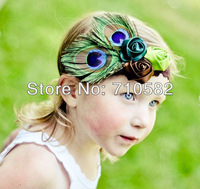 10pcs /lot Free Shipping Infant Baby Toddler peacock feather rose flower headbands Headwear children headband
