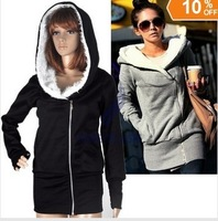 Free Shipping 2013 Korea Women Hoodies Coat Warm Zip Up Outerwear Sweatshirts 2 Colors Black Gray 1991
