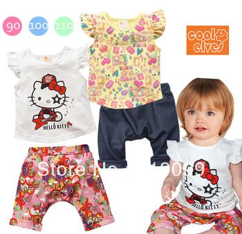Wholesale 2013 Free Shipping fashion cotton baby girl Hello kitty Clothing sets 2pcs(t-shirt+pants) 3Sets/Lot kids Suit