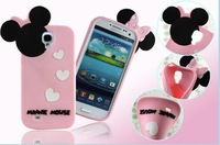3D 3 star  Minnie mouse Silicone case Cover For Samsung Galaxy S4 i9500  1pc/lot