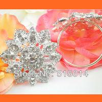 Free Shipping !200pcs/lot 40mm Ring Flower Rhinestone Napkin Rings ,Wedding Table Decoration ,Rhinestone Holders