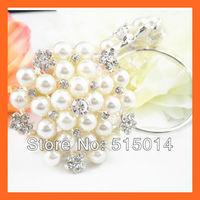Free Shipping !100pcs/lot 40mm Ring Flower Pearl& Rhinestone Napkin Rings ,Wedding Table Decoration ,Rhinestone Holders
