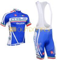 Free Shipping 2013 NEW! SKODA BLUE Bib short sleeve cycling jerseys wear clothes bicycle/bike/riding jerseys+pants shorts