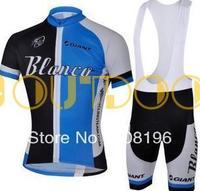 Free Shipping 2013 NEW! Blanco BLUE Bib short sleeve cycling jerseys wear clothes bicycle/bike/riding jerseys+pants shorts