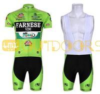 Free Shipping 2013 NEW! FARNESE Green short sleeve cycling jerseys wear clothes bicycle/bike/riding jerseys+ Bib pants shorts