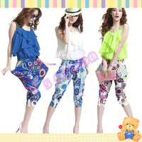 2013 Summer New Fashion Elegant Women's Shine Printing Sleeveless Round Neck Slim Fit Chiffon Jumpsuit 16579