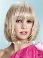 Gorgeous Celebrity Hairstyle Medium Straight Platinum Blonde Shining Wig Free Shipping