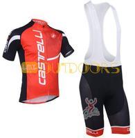 Free Shipping 2013 NEW! Castelli Red  Bib short sleeve cycling jerseys wear clothes bicycle/bike/riding jerseys+pants shorts