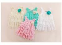 2013 baby lace dresses cute tutu kids dresses for girls lace flower summer children lace sundresses sweet girl hot sale 4 pcs