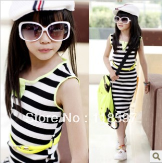 free shipping 2013 summer hot Children clothing set child low-high stripe elastic vest full dress, classic children dress