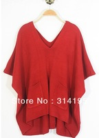 Free\Drop Shipping 2013 autumn and winter fashion solid color batwing sleeve double pocket loose sweater outerwear wrsc41009