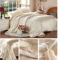 FEDEX Free shipping Europe Luxurious Light Yellow Small Check 100% Silk  4PCS Bedding set